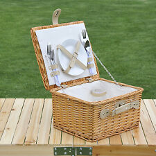 Outsunny 2 Person Willow Wicker Picnic Basket Hamper w/ Dinnerware Handle Liners
