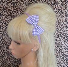 """Lilas blanc vichy imprimé tissu petit 3"""" côté nœud satin alice cheveux tête bande"""