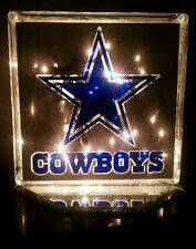 Lighted Dallas Cowboys Glass Block Light~ Home Decor~Gift~Lamp