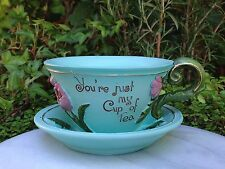 Mini FAIRY GARDEN ~ Teal Teacup Planter Flower Pot ~ You're Just My Cup of TEA