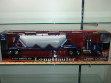 1/32 NEW RAY PETERBILT 379 DAY CAB TRUCK AND DRY HAULIN TRAILER BLUE