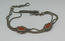 Fancy Vintage Antique Silver Watch Chain Goldstone Slides & Key Fob
