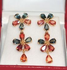 14k Solid Yellow Gold Flower Dangle Stud Earrings, Natural Color Sapphire 5.3TCW