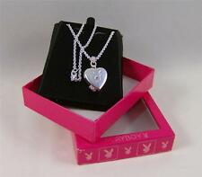 NECKLACE Heart LOCKET by PLAYBOY SILVER Plated Swarovski CRYSTAL Pink BUNNY