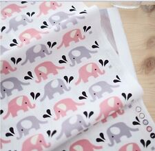 Pink elephants 100% Cotton Remnant  fabric 110 x 22.5cm Quilting fabric off cut