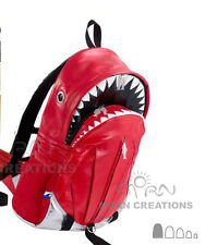SHARK Backpack XL shiny RED PU Morn Creations bag tale thunderbolt jaws teeth