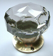 glass door knobs, large crystal cut multifaceted Brass base (pairs) Beautiful !