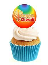 Novelty Happy Diwali Bright Circle 12 Edible Stand Up wafer paper cake toppers