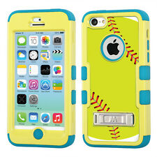 Hybrid 3-Layer Case (Yellow/Teal/Stand) for Apple iPhone 5C - Green Softball