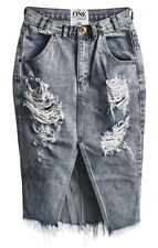 One Teaspoon Whiskey Cadillac Faded Denim Distressed Pencil Split Blue Skirt 11