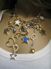 ~ 80s 90s MODERN Stars Heats Blue Crystals Gold color Choker NECKLACE CoLLar