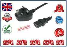 2M Metre UK Mains Power Plug to IEC C13 Kettle Lead Cable Cord for PC Monitor TV