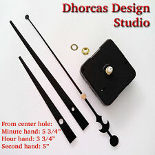 "(#03) Quartz Clock Movement kit, 3/16"" thread quiet motor and LONG Black 6"" hand"