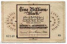 Hörde und Schwerte 1 Billion Mark 1923 III-