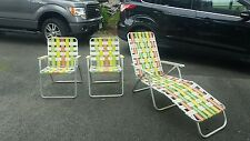 Set of retro vintage alluminum lawn chairs lounge green orange