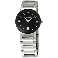 Bulova Men's Stainless Black Diamond Dial Calendar Watch 96D18 Box and Papers