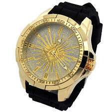 Mens Techno King gold Metal Case Mason Black Silicone Band Quartz Wrist watches
