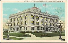 Court House and World War Memorial Clubrooms in Grand Forks ND Postcard