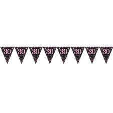 30th Birthday Pennant Flag Banner Black & Pink Party Decorations Age 30 Bunting