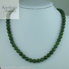 Vintage green Jade beads necklace solid silver lock great nephrite gift