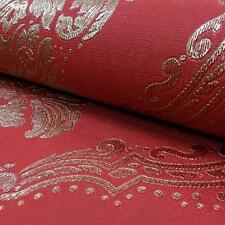 ARTHOUSE VINTAGE LUCETTA DAMASK FLORAL MOTIF GLITTER VINYL WALLPAPER RED