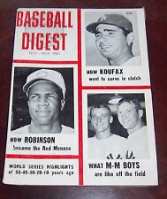 Baseball Digest October / November 1961 Mantle / Maris /Koufax / Robinson