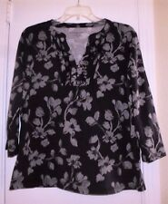 CROFT & BARROW PURPLE WITH GRAY FLORAL PRINT STRETCH TOP SIZE XL