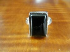 Black Onyx Stone Rectangle Shape Sterling Silver 925 Ring Size 9 1/2