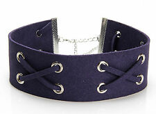 Charm Jewelry Womens Lace Up Gothic Punk Choker Vintage Velvet Leather Necklace