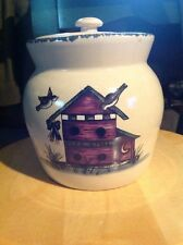 """Home And Garden Canister, BIRDHOUSES, With Lid. 5.5"""" Tall X 5.5"""" Diam.   #6"""