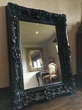 BLACK BOUDIOR ORNATE LARGE FRENCH LEANER DRESSING WOOD WALL HUGE MIRROR 6FT