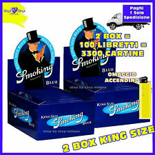 CARTINE SMOKING LUNGHE BLU KING SIZE 2 Box  100 Libretti