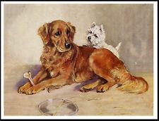 GOLDEN RETRIEVER AND WESTIE TERRIER CHARMING IMAGE DOG PRINT POSTER