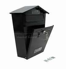Large Lockable Outside Letterbox Letter Post Mail Box Postbox & Fixing Kit BLACK