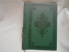 vintage green leather Scrap book / picture book unused 24 sheets scrapbooking