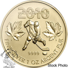 Canada 2010 $5 Canadian Olympic Hockey Gold Plated 1 oz Silver Coin