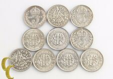 1904-1944 Great Britain Threepence Lot (VF-MS, 10 coins) Silver 3 Pence England