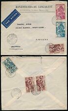 FRENCH GUINEA 1938 SOUGUETA to GB AIRMAIL MULTI FRANKING 5F SURCHARGE for WEIGHT