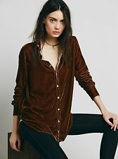 Free People CP Shades Velvet Silk Button down Shirt Sz S
