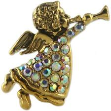 CRYSTAL ANTIQUE GOLD PLATE ANGEL BROOCH PIN MADE WITH SWAROVSKI ELEMENTS