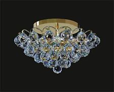 "Small GOLD Ceiling Mounted Fixture + CRYSTAL PRISMS (D14"" x H7"") with 4 lights"