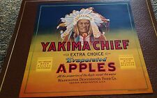 Yakima Chief  Vintage Apple Crate Label Yakima Washington Native American Chief