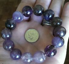 AURALITE 23 Crystal Bracelet 14mm Beads. Cacoxenite Amethyst Super Seven Sis
