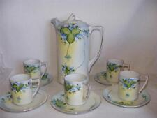 Vintage Hand Painted Nippon Chocolate Set Blue Violets Green Leaves Vines Nice