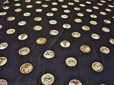 PEACHED ROMAN COIN PRINT-BLACK/GOLD -DRESS FABRIC-FREE P&P(UK ONLY)