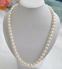 "Genuine Natural 8-9MM White Akoya Cultured Pearl Beaded Necklace 18"" AAA"