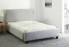 "CHENILLE MIAMI UPHOLSTERED BED FRAME IN 5FT"" KINGSIZE LIGHT GREY"