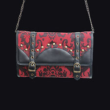Dark Star Gothic Red Brocade Clutch Bag w/ Chain strap and Faux Buckle Details.