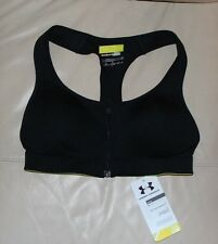 UNDER ARMOUR *NWT* HEAT GEAR PROTEGEE COMPRESSION ZIP FRONT BRA TOP~ BLACK 32A