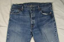 Levi 501 Button Fly Straight Leg Distressed Hige Faded Denim Jeans Measure 36x33